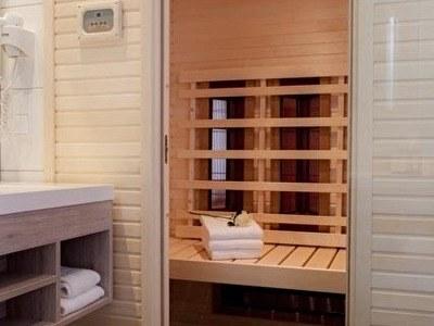 hotelkamer met sauna in de kamer Asteria